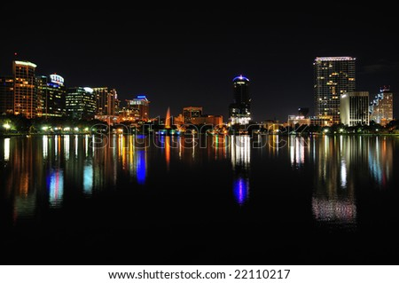 Night shot of Downtown Orlando, Florida from Lake Eola
