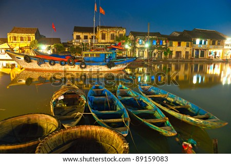 Night shot of Hoi An. Vietnam. Unesco World Heritage Site.