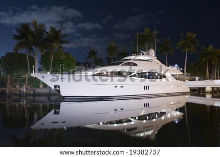 night shot of luxury yacht - stock photo
