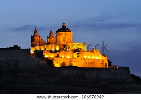 Night shot of Mdina, also known as the silent city and Malta's former capital city, Malta.