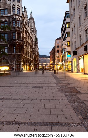 night shot of Munich street, Germany - stock photo