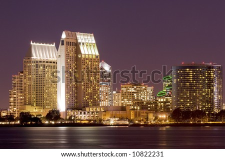Night shot of San Diego, California skyline taken from Coronado Island.