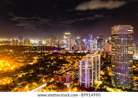 Night shot of skyline of Makati, Philippines