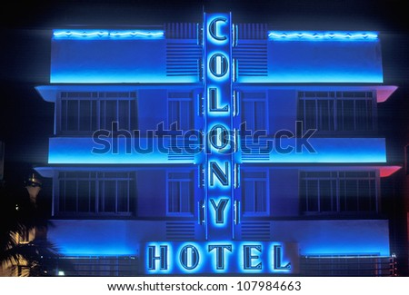 Night shot of The Colony Hotel in south beach, Miami Beach, Florida
