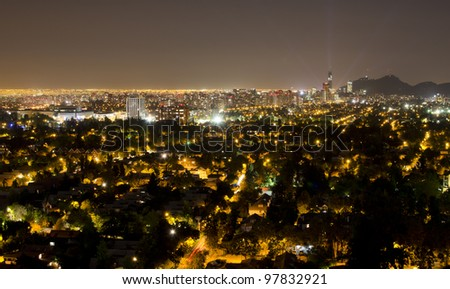 Night shot of the financial district at Santiago de Chile - stock photo