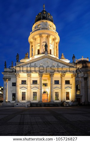 Night shot of the German Cathedral on Gendarmenmarkt, Berlin, Germany. - stock photo