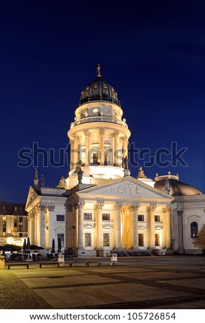 Night shot of the German Cathedral on Gendarmenmarkt, Berlin, Germany.