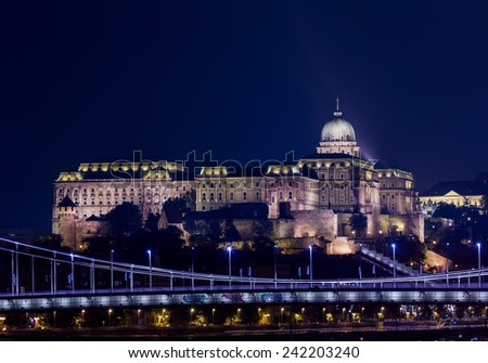 Night shot of the illuminated Buda Castle and Castle District in Budapest, Hungary