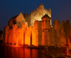 Night shot of the medieval