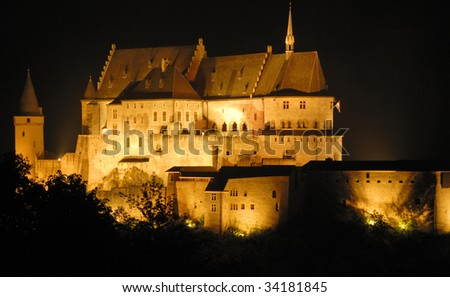 Night shot of the old castle of Vianden in Luxembourg,Europe.