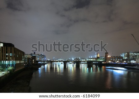 Night shot of the thames, London - st. pauls on the right