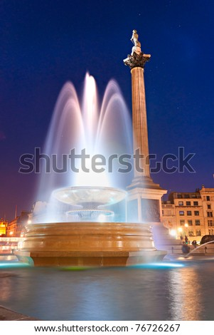 Night shot of Trafalgar Square, London, UK.