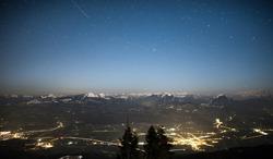 night shots of salzburg und berchtesgaden in winter, seen from roßfeldstraße (