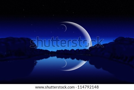 Night silhouettes of forest, lake illuminated by the moon and stars.
