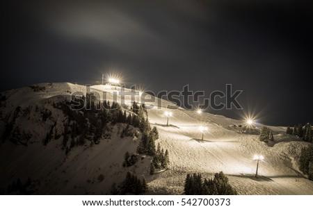 Night sking in the swiss alps Foto stock ©