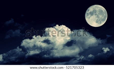 Night sky and a full moon in the clouds\r