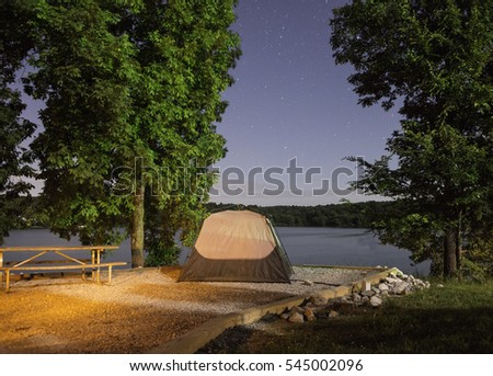Night sky and tent at Land Between the Lakes National Park in Kentucky.