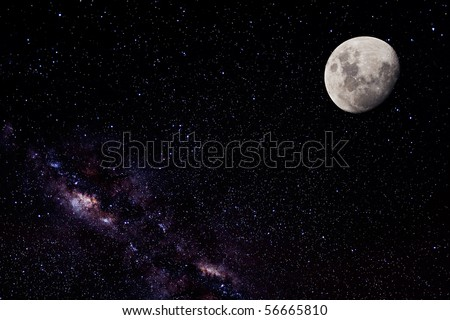 Night Sky, Bright Stars, Galaxy, and Moon