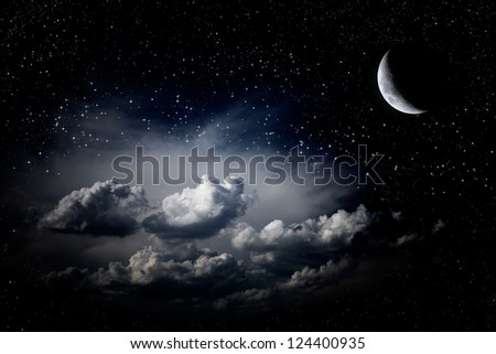 Night sky clouds stars