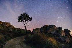 Night sky in Serra da Estrela in Portugal. Sky full of stars in northern hemisphere. Beautiful background