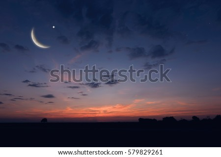 Shutterstock Night sky landscape and moon, stars, Ramadan Kareem celebration