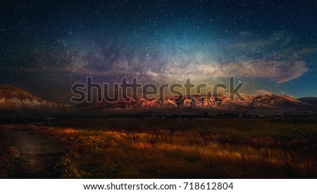 Night sky landscape in El Calafate, Patagonia, Argentina, South America. Laguna Nimez night sky. Mountain night sky. The elements of this image furnished by NASA.