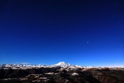 Night sky over Mount Elbrus