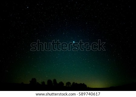 Night sky panorama, tree silhouettes, Jupiter in the middle of the picture.