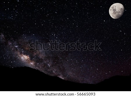 Night Sky, Stars Moon and Galaxy
