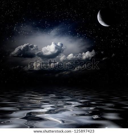 Stock Photo Night sky stars reflecting in sea
