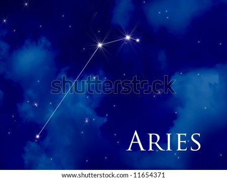 Night sky with Aries constellation