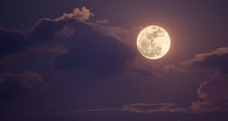 night sky with full moon and clouds