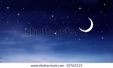 Night sky with moon and stars - stock photo
