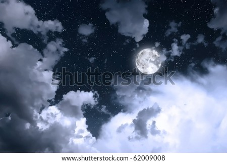 night sky with moon, clouds and stars