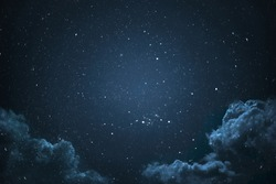 Night sky with stars and clouds shot.