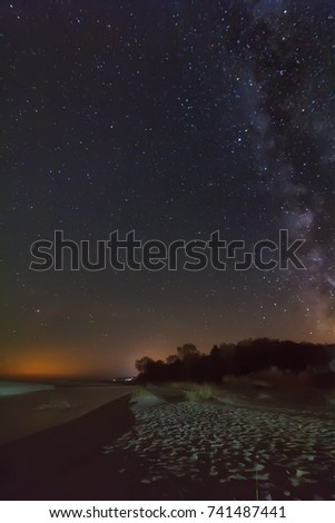 night sky with stars and milky way over beach #741487441