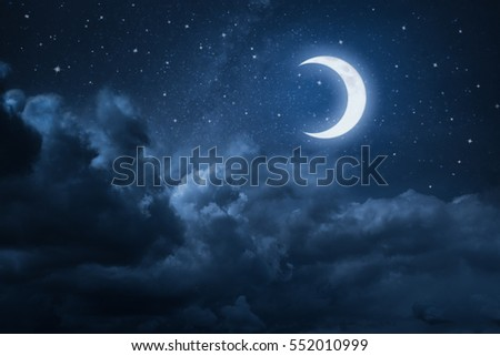 Night sky with stars and moon #552010999