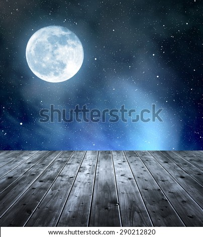 "Night sky with stars and moon. In the foreground a wooden planks. ""Elements of this image furnished by NASA"". #290212820"