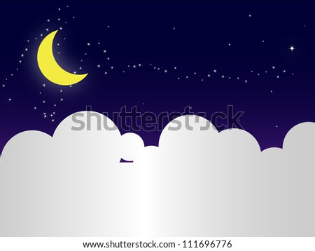 night sky with stars,cloud and moon