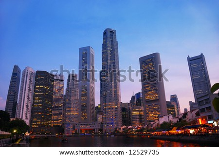 Night skyline of Singapore's business district