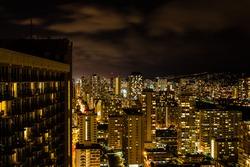 Night skyline of the city of Honolulu, Hawaii