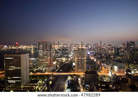 Night skyline of Tokyo, Japan during sunset with light up buildings and roads