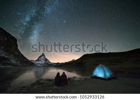 Night spent in tent under milkyway and watching famous Matterhorn