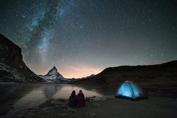 Night spent in tent under milkyway and watching Matterhorn
