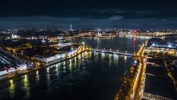 Night St. Petersburg and Neva River, Russia