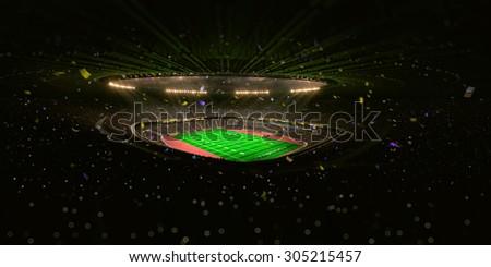Night stadium arena Football field championship win! Confetti and tinsel.