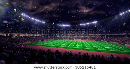 Night stadium arena Football field championship win! Confetti and tinsel. Blue toning