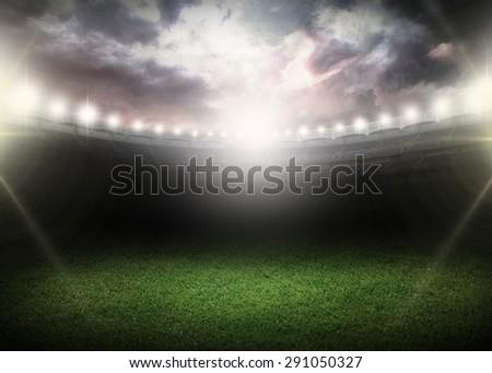 Night, stadium, field.