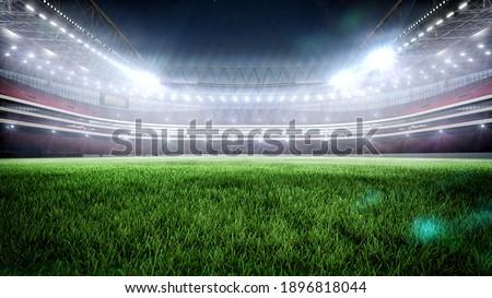 Night stadium with illumination 3D rendering.