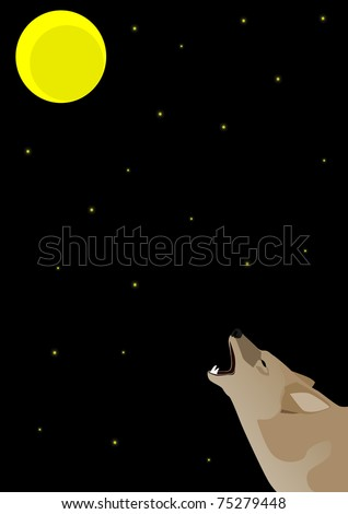 Night starry sky and moon. Wolf howling at the moon